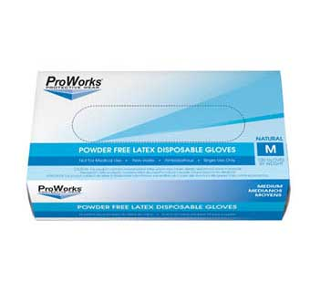 PROWORKS LATEX POWDER FREE DISPOSABLE GLOVES 5 MIL MEDIUM 100 COUNT