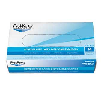 PROWORKS LATEX POWDER FREE DISPOSABLE GLOVES 5 MIL LARGE 100 COUNT