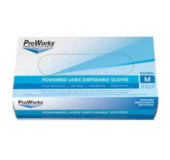 PROWORKS LATEX POWDERED DISPOSABLE GLOVES 5 MIL SMALL 100 COUNT