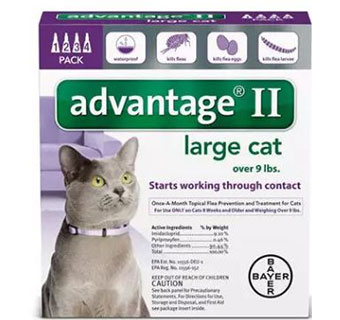 ADVANTAGE® II FOR CATS - PURPLE (OVER 9LBS) - 4/PKG