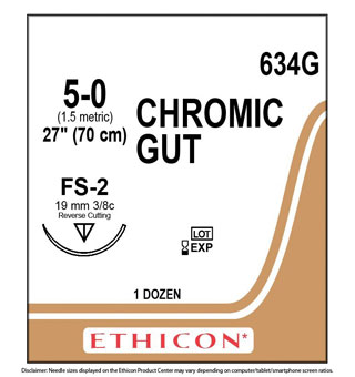 ETHICON™ CHROMIC GUT SUTURES 634G 27 IN (FS-2) - 12 COUNT