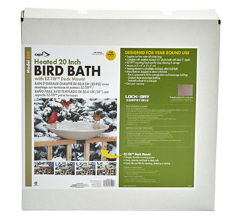 DECK-MOUNTED HEATED BIRD BATH 20 IN PLASTIC BATH W/ 2 IN DEPTH 1/PKG
