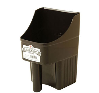 ENCLOSED PLASTIC FEED SCOOP - BLACK - 3 QUART - EACH