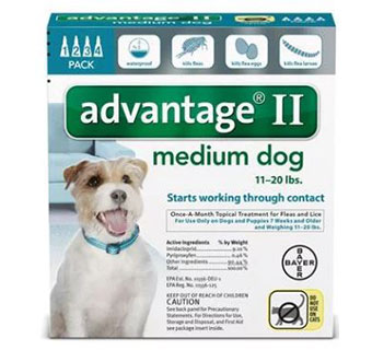 ADVANTAGE® II FOR DOGS - TEAL (11-20LBS) - 4/PKG