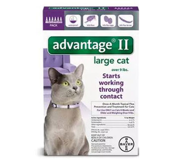 ADVANTAGE® II FOR CATS - PURPLE (OVER 9LBS) - 6/PKG