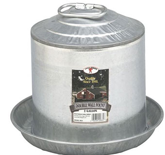 DOUBLE WALL MOUNT POULTRY FOUNT - 2 GALLON - 4/PKG