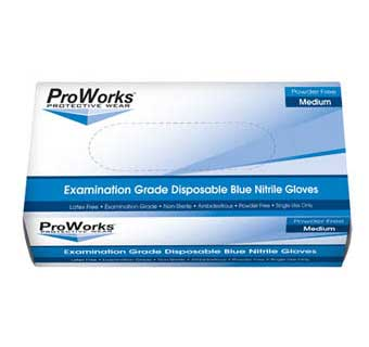 PROWORKS NITRILE POWDER FREE DISPOSABLE EXAM GLOVES 5 MIL MEDIUM 100 COUNT