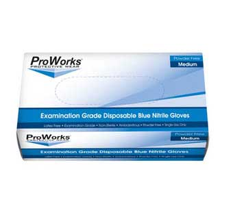 PROWORKS NITRILE POWDER FREE DISPOSABLE EXAM GLOVES 5 MIL LARGE 100 COUNT