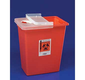 SHARPSAFETY™ LARGE VOLUME SHARPS CONTAINERS WITH HINGED LID  8 GALLON