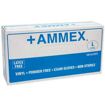 VINYL POWDER FREE EXAM GLOVES LARGE 100 COUNT