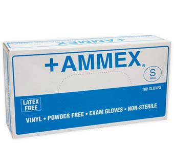 VINYL POWDER FREE EXAM GLOVES SMALL 100 COUNT