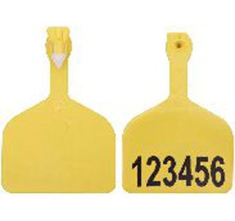 ONE-PIECE FEEDLOT EAR TAGS HOT STAMP 1-HIT RED EACH