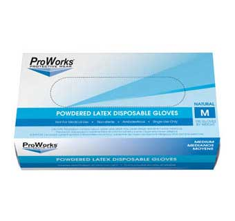 PROWORKS LATEX POWDERED DISPOSABLE GLOVES 5 MIL MEDIUM 100 COUNT