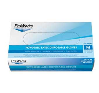 PROWORKS LATEX POWDERED DISPOSABLE GLOVES 5 MIL XL 100 COUNT