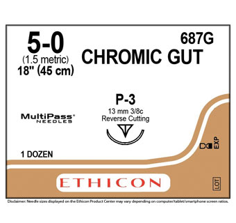 ETHICON™ CHROMIC GUT SUTURES 687G 18 IN (P-3) - 12 COUNT