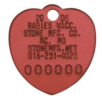 RABIES TAGS MINI ALUMINUM RED HEART 100/PKG