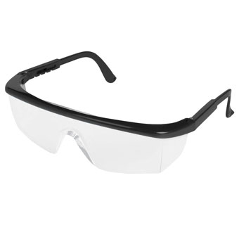 STING-RAYS WRAP FRAME SAFETY GLASSES BLACK/CLEAR 1 PR/PKG