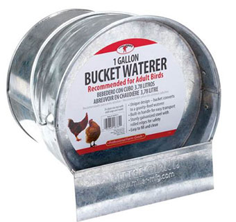 GALVANIZED BUCKET POULTRY WATERER - EACH