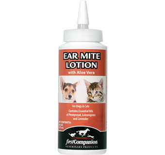 FIRST COMPANION EAR MITE LOTION WITH ALOE VERA 6 OZ BOTTLE