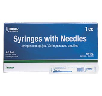 IDEAL® SYRINGES WITH NEEDLES 1 CC TUBERCULIN 25 GA X 5/8 IN LUER SLIP 100/PKG