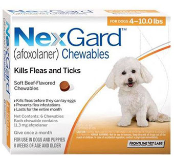 NEXGARD™ CHEWABLES 4-10 LB – ORANGE 3 DOSES; 10 BOX/CARTON (AGENCY) (RX)