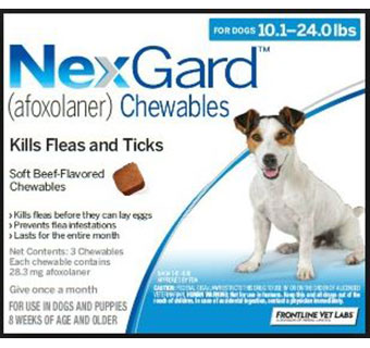 NEXGARD™ CHEWABLES 10.1 - 24 LB BLUE 3 DOSES 10 BOX/CARTON (AGENCY) (RX)