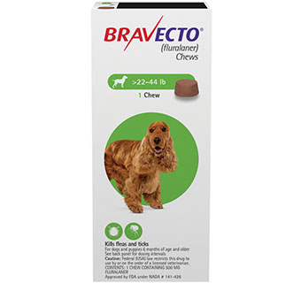 BRAVECTO™ CHEW TABS 22-44 LB MEDIUM DOG 10/BOX (RX)