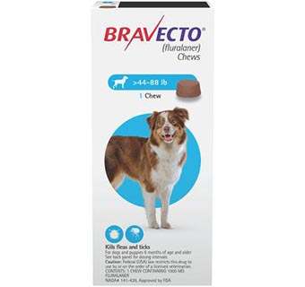 BRAVECTO™ CHEW TABS 44-88 LB LARGE DOG 10/BOX (RX)