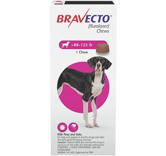 BRAVECTO™ CHEW TABS 88-123 LB EXTRA LARGE DOG 10/BOX (RX)