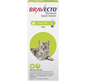 BRAVECTO™ TOPICAL SOLUTION FOR CATS 2.6-6.2 LB CAT GREEN 10 DOSES (RX)