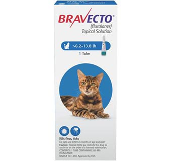 BRAVECTO™ TOPICAL SOLUTION FOR CATS 6.2-13.8 LB CAT BLUE 10 DOSES (RX)