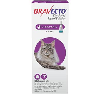 BRAVECTO™ TOPICAL SOLUTION FOR CATS 13.8-27.5 LB CAT PURPLE 10 DOSES (RX)