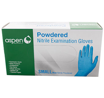 POWDERED NITRILE GLOVES BLUE - SMALL 100 COUNT