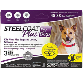 FIRST COMPANION STEELCOAT PLUS™ FOR DOGS 45 - 88 LBS 3 DOSES