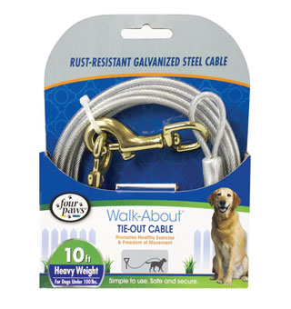 FOUR PAWS® WALK-ABOUT® HEAVYWEIGHT TIE-OUT CABLE SILVER 10 FT