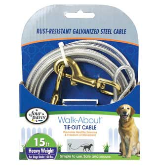 FOUR PAWS® WALK-ABOUT® HEAVYWEIGHT TIE-OUT CABLE SILVER GALVANIZED 15 FT
