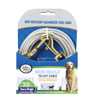 FOUR PAWS® WALK-ABOUT® HEAVYWEIGHT TIE-OUT CABLE SILVER STEEL 20 FT