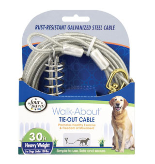 FOUR PAWS® WALK-ABOUT® HEAVYWEIGHT TIE-OUT CABLE SILVER GALVANIZED 30 FT