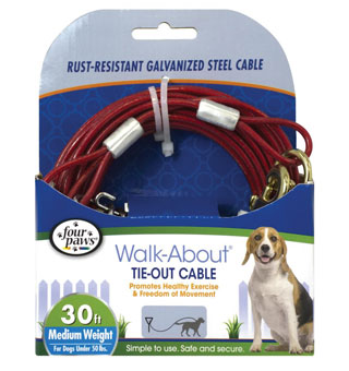 FOUR PAWS® WALK-ABOUT® MEDIUM WT CABLE TIE-OUT RED 30 FT