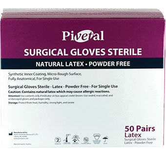 PIVETAL™ PF LATEX STERILE SURGICAL GLOVES SIZE 7.5 50 PAIRS/PKG