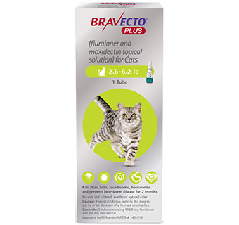 BRAVECTO™ PLUS TOPICAL SOLUTION FOR CATS 2.6-6.2 LB GREEN 112.5 MG 10 DOSES