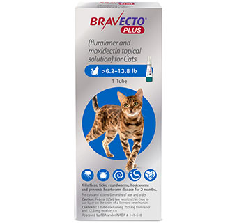 BRAVECTO™ PLUS TOPICAL SOLUTION FOR CATS 6.2-13.8 LB BLUE 250 MG 10 DOSES (RX)