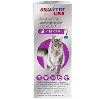 BRAVECTO™ PLUS TOPICAL SOLUTION FOR CATS 13.8-27.5 LB PURPLE 500 MG 10 DOSES