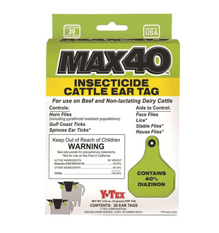 MAX 40™ INSECTICIDE CATTLE EAR TAG 20/BX